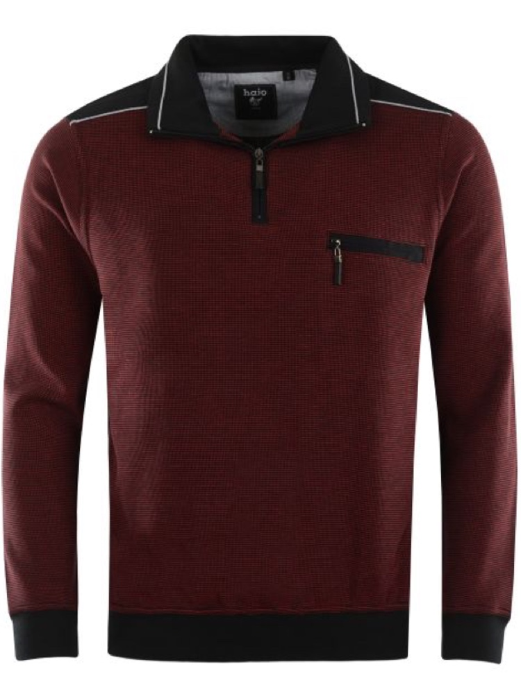 HAJO Sweatshirt TROYER Bi-Color dunkelrot