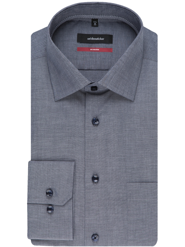 Seidensticker Hemd MODERN FIT 192490/19 Chambray graublau SALE