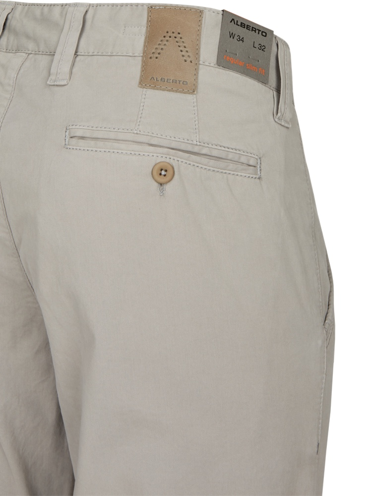 ALBERTO Chino Hose Regular Slim Fit LOU Cotton lichtgrau