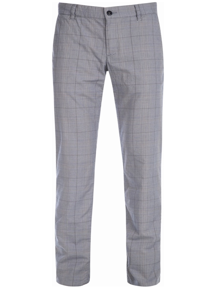 ALBERTO Chino Hose Regular Slim Fit LOU Karo blaugrau