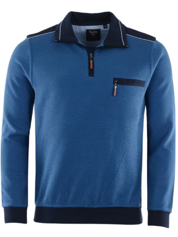 HAJO Sweatshirt TROYER Bi-Color blau