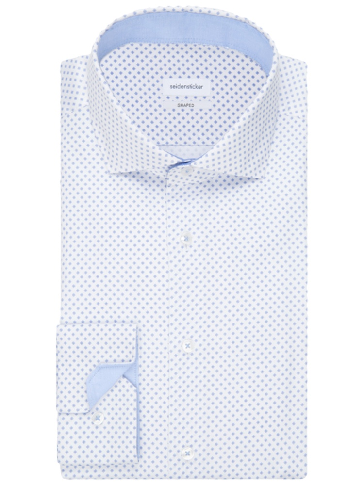 Seidensticker Hemd SHAPED FIT Twill Print weiss