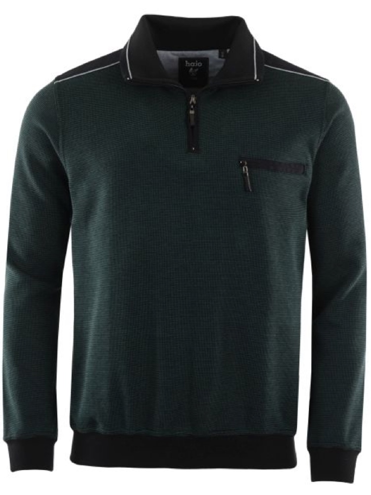 HAJO Sweatshirt TROYER Bi-Color dunkelgrün