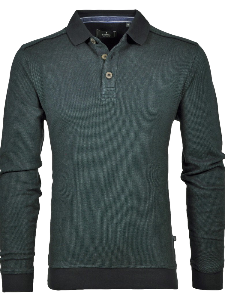 RAGMAN Sweatshirt POLO Bi-Colour grün melange