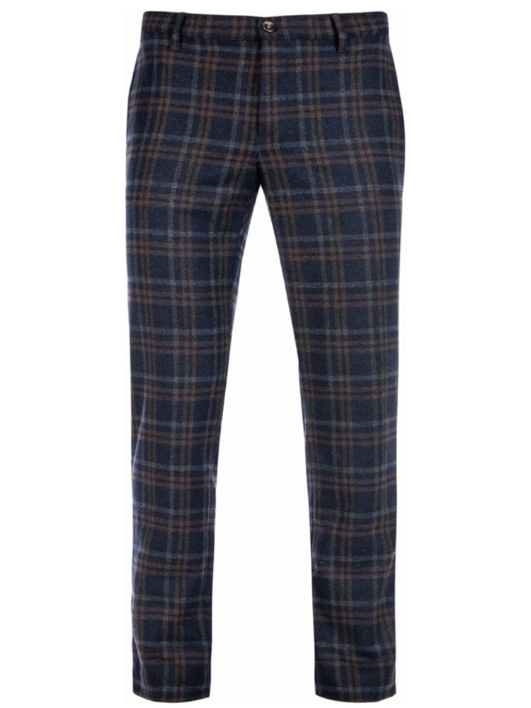 ALBERTO Chino Slim Fit ROB Wool Check dunkelblau 6286-1257-085