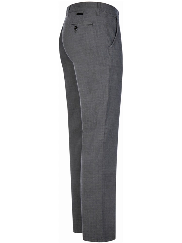 ALBERTO Chino Hose Regular Slim Fit LOU Karo dunkelgrau