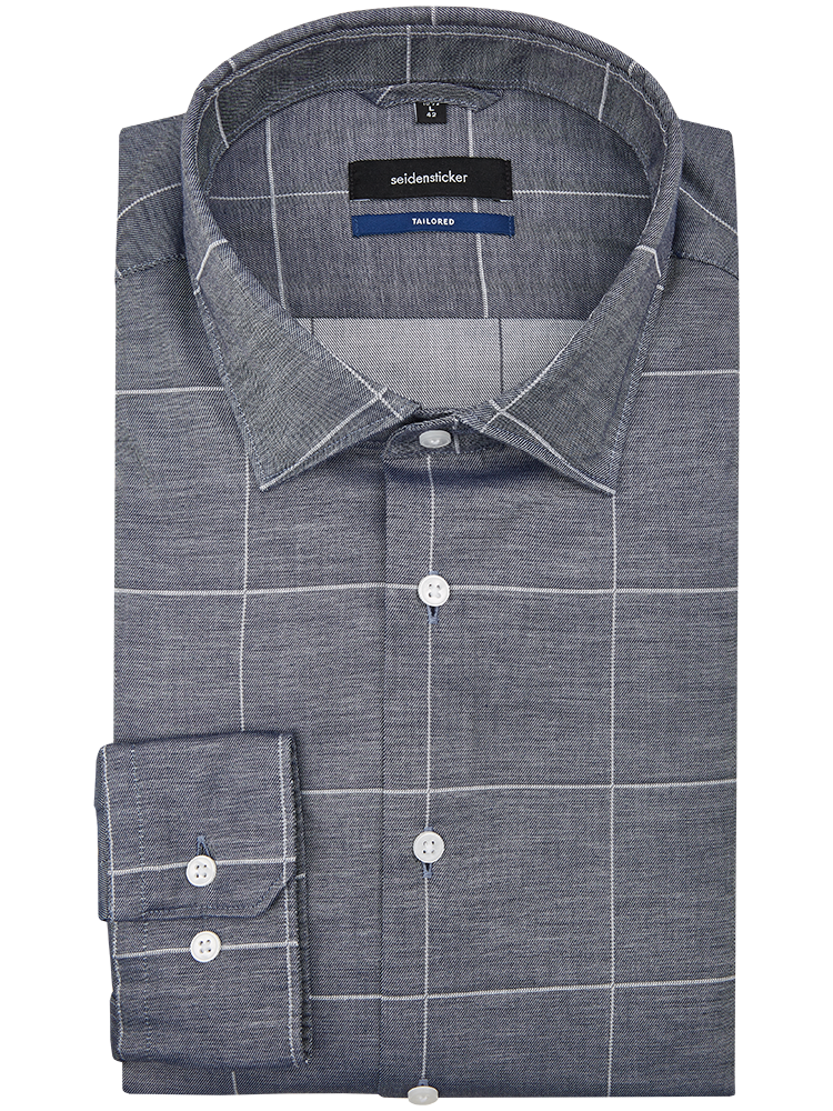 Seidensticker Hemd 234890/19 TAILORED FIT Karo graublau SALE
